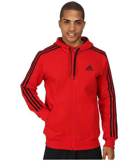 adidas - Essential Heavyweight Fleece Full-Zip Hoodie (Scarlet/Black) Men's Sweatshirt