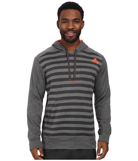 adidas - Ultimate Striped Hoodie (Dark Grey Heather/Infrared) Men