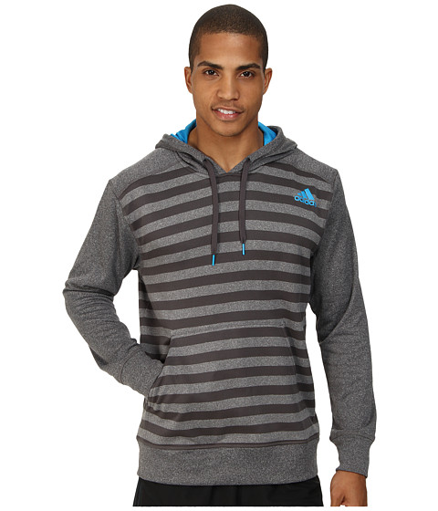 Apparel-adidas Ultimate Striped Hoodie (Dark Grey Heather Solar Blue 2) Men's Long Sleeve Pullover