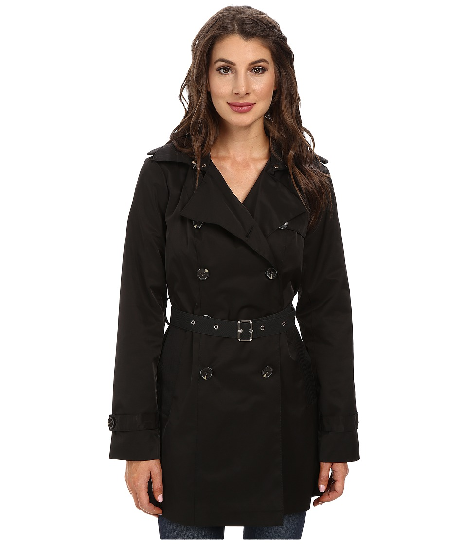 Sam Edelman - Double Breasted Trench w/ Vegan Leather Trim (Black) Women's Coat