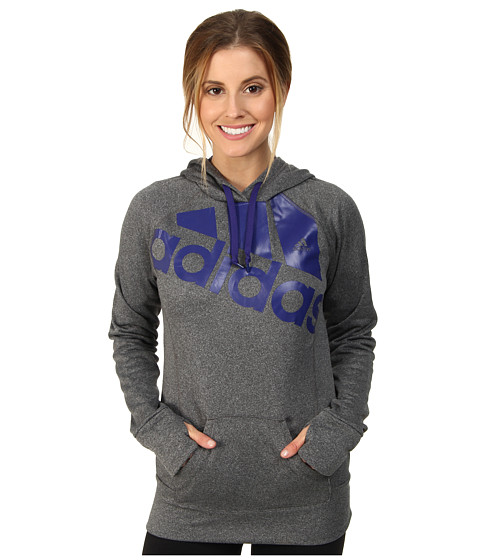 adidas - Go-To Fleece Pullover Hoodie (Dark Grey/Amazon Purple) Women's Long Sleeve Pullover