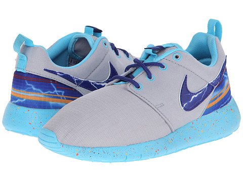 Nike Kids - Roshe Run Print (Little Kid/Big Kid) (Wolf Grey/University Gold/Electro Orange/Deep Royal Blue) Boys Shoes
