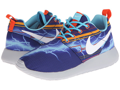 Nike Kids - Roshe Run Print (Little Kid/Big Kid) (Deep Royal Blue/University Gold/Electro Orange/White) Boys Shoes