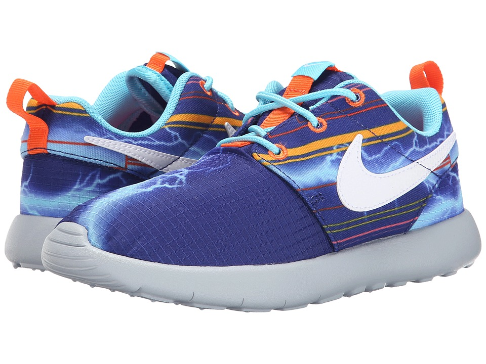 Nike Kids - Roshe Run Print (Little Kid) (Deep Royal Blue/University Gold/Electro Orange/White) Boy's Shoes