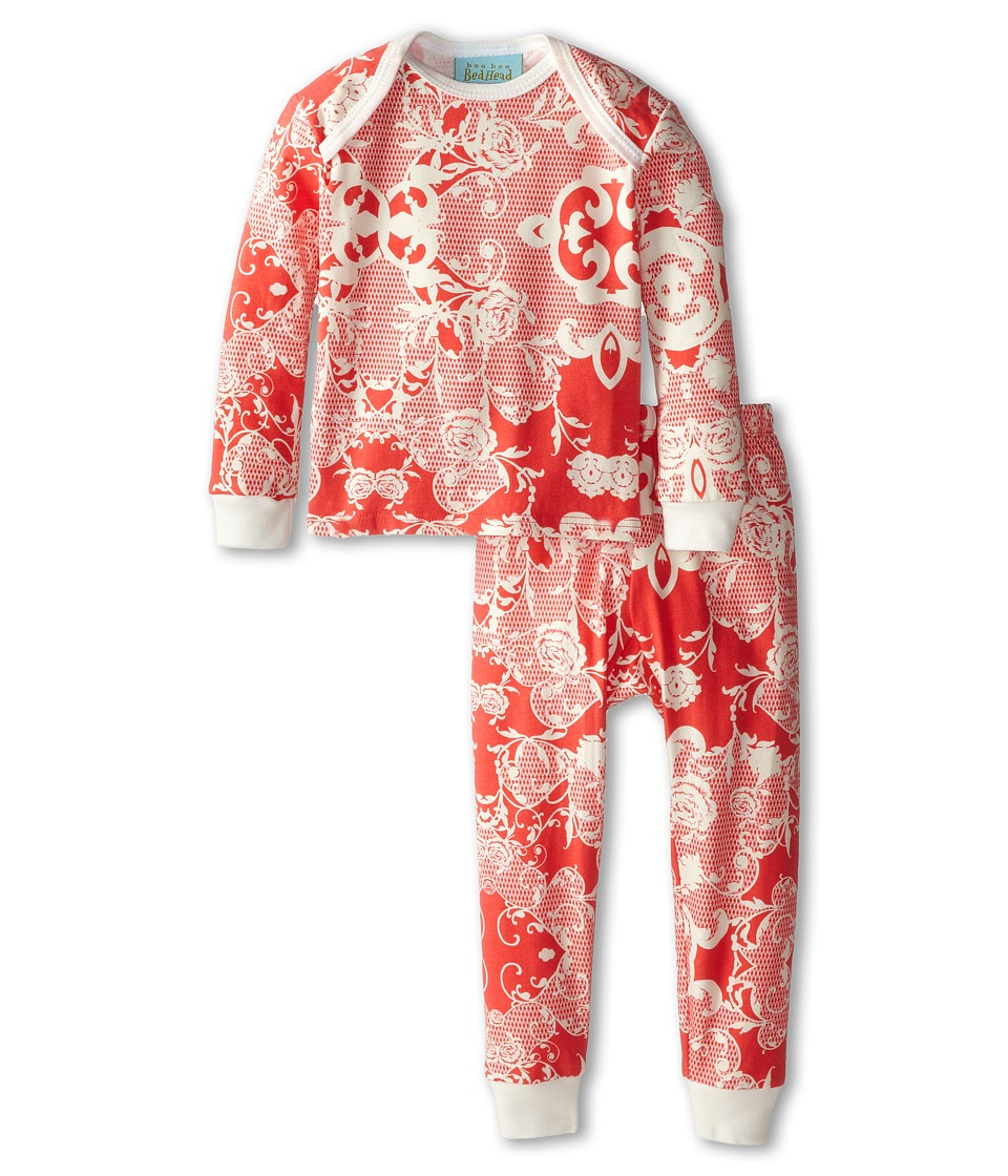 BedHead Kids - Baby L/S Tee Pant (Infant) (Coral Floral Mesh) Girl's Pajama Sets