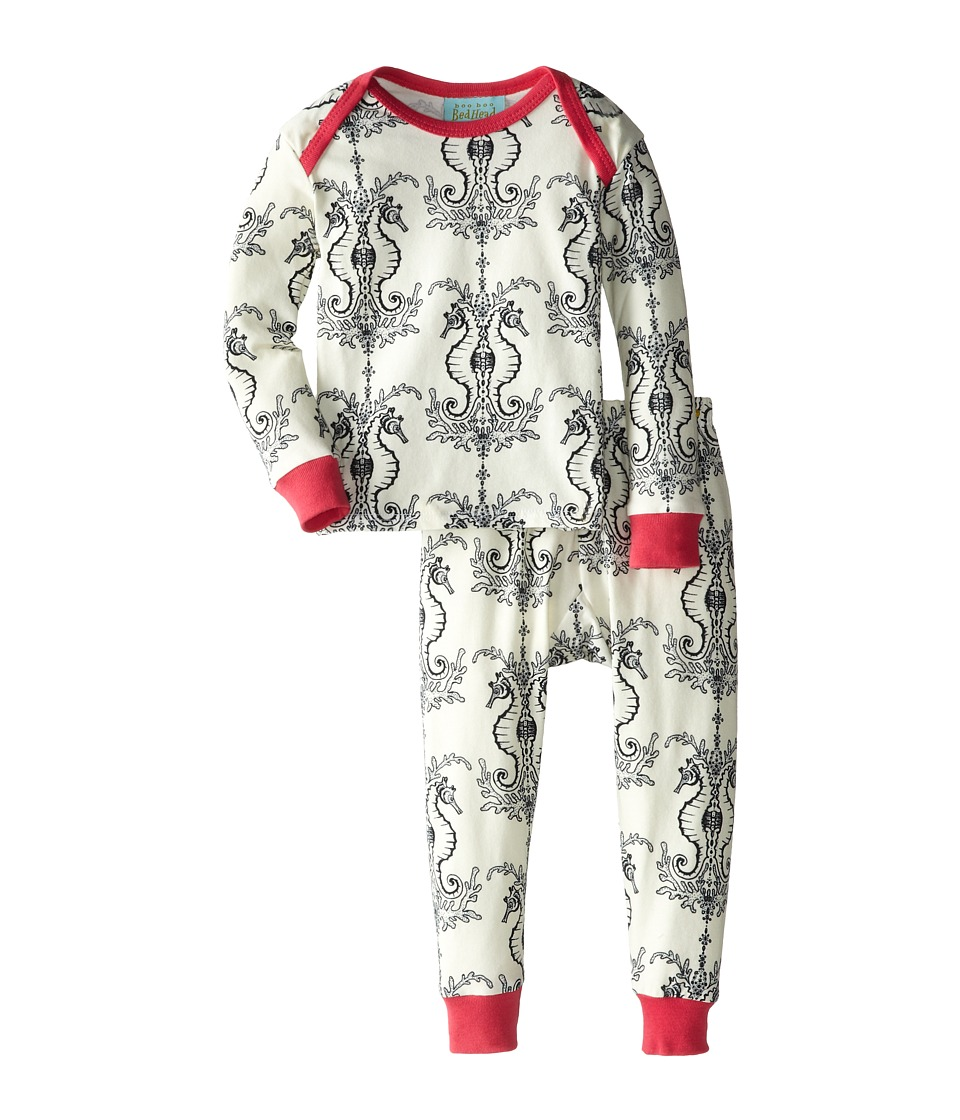 BedHead Kids - Baby L/S Tee Pant (Infant) (Cream Seahorse) Girl's Pajama Sets