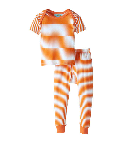BedHead Kids - Short Sleeve Baby Tee Pant Set (Infant) (Orange Stripe) Kid
