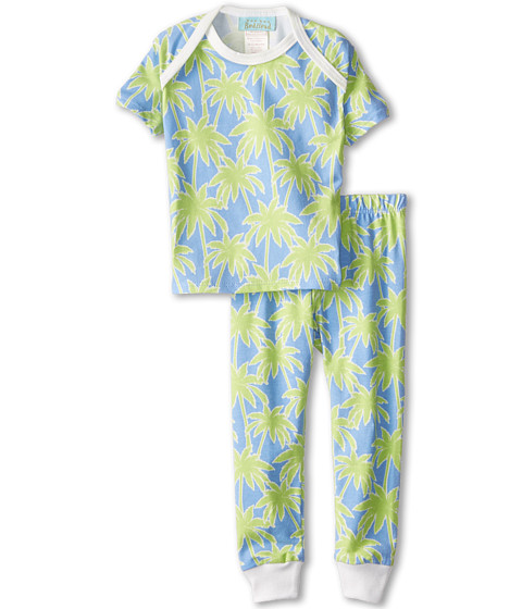 BedHead Kids - Short Sleeve Baby Tee Pant Set (Infant) (Periwinkle Palm Trees) Kid's Pajama Sets