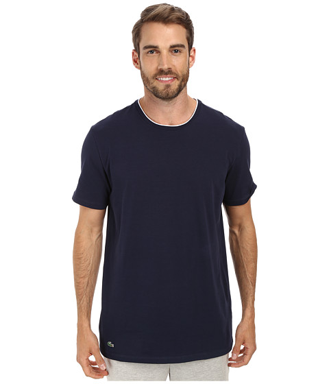 Lacoste - Baseline Short Sleeve Crew Tee (Navy) Men's Pajama