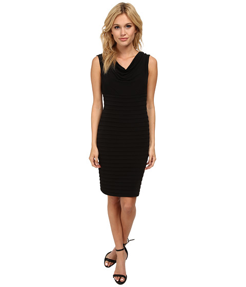 Calvin Klein - Pin Tuck Sheath with Cowl Neck CD5A1B9K (Black) Women's Dress