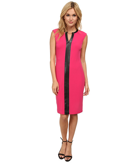 Calvin Klein - Matte Jersey Sheath CD5A1B7E (Hibiscus/Black) Women's Dress