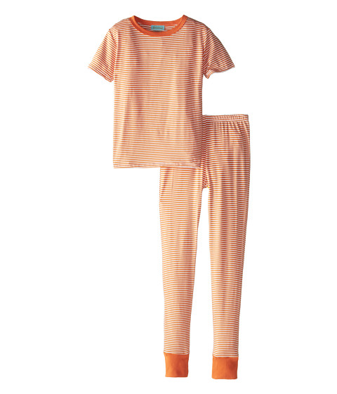 BedHead Kids - Short Sleeve Tween Snug PJ (Big Kids) (Orange Stripe) Kid's Pajama Sets