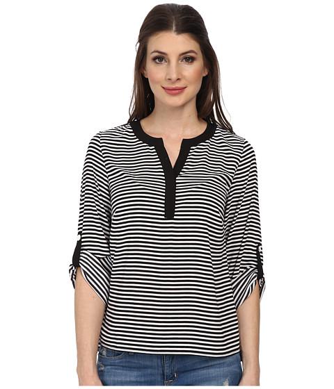 Calvin Klein - Roll Sleeve Striped Blouse (Black/White) Women