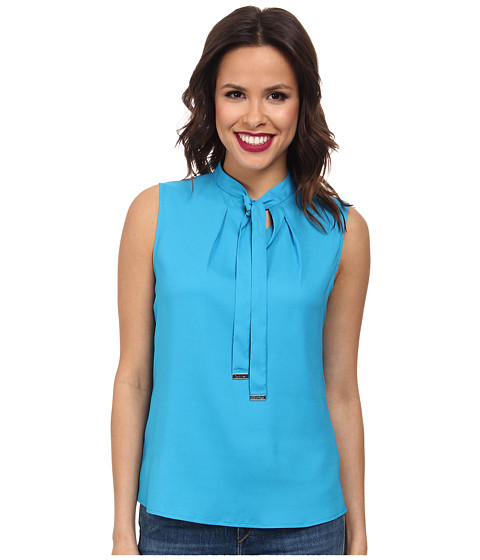 Calvin Klein - Tie Neck Sleeveless Blouse (Cerulean) Women