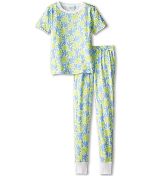 BedHead Kids - Short Sleeve Tween Snug PJ (Big Kids) (Periwinkle Palm Trees) Kid's Pajama Sets