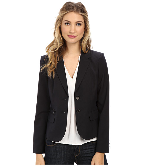 Calvin Klein - Striped Two-Button Jacket with Zipper Detail (Navy) Women's Jacket