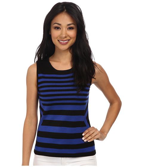 Calvin Klein - Calvin Klein Striped Sleeveless Knit Top (Black/Atlantis) Women