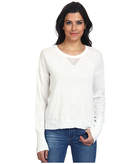 LAmade - Open V-Neck Split Back Sweater (White) Women's Sweater