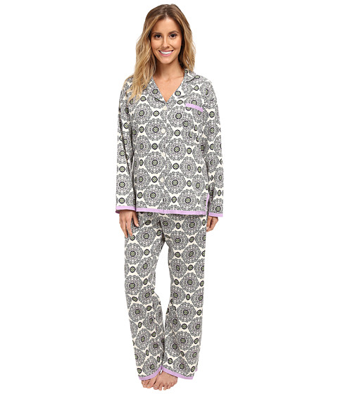 BedHead - Cotton Sateen L/S Ribbon PJ (Cream Medallion) Women's Pajama Sets