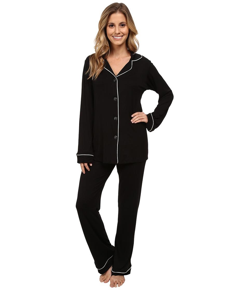 BedHead - Classic Stretch PJ Set (Black Solid) Women's Pajama Sets
