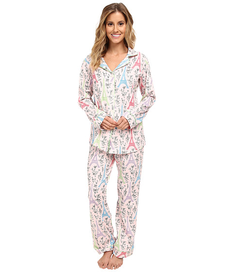 BedHead - Classic Stretch PJ Set (Multi Eiffel Tower) Women's Pajama Sets