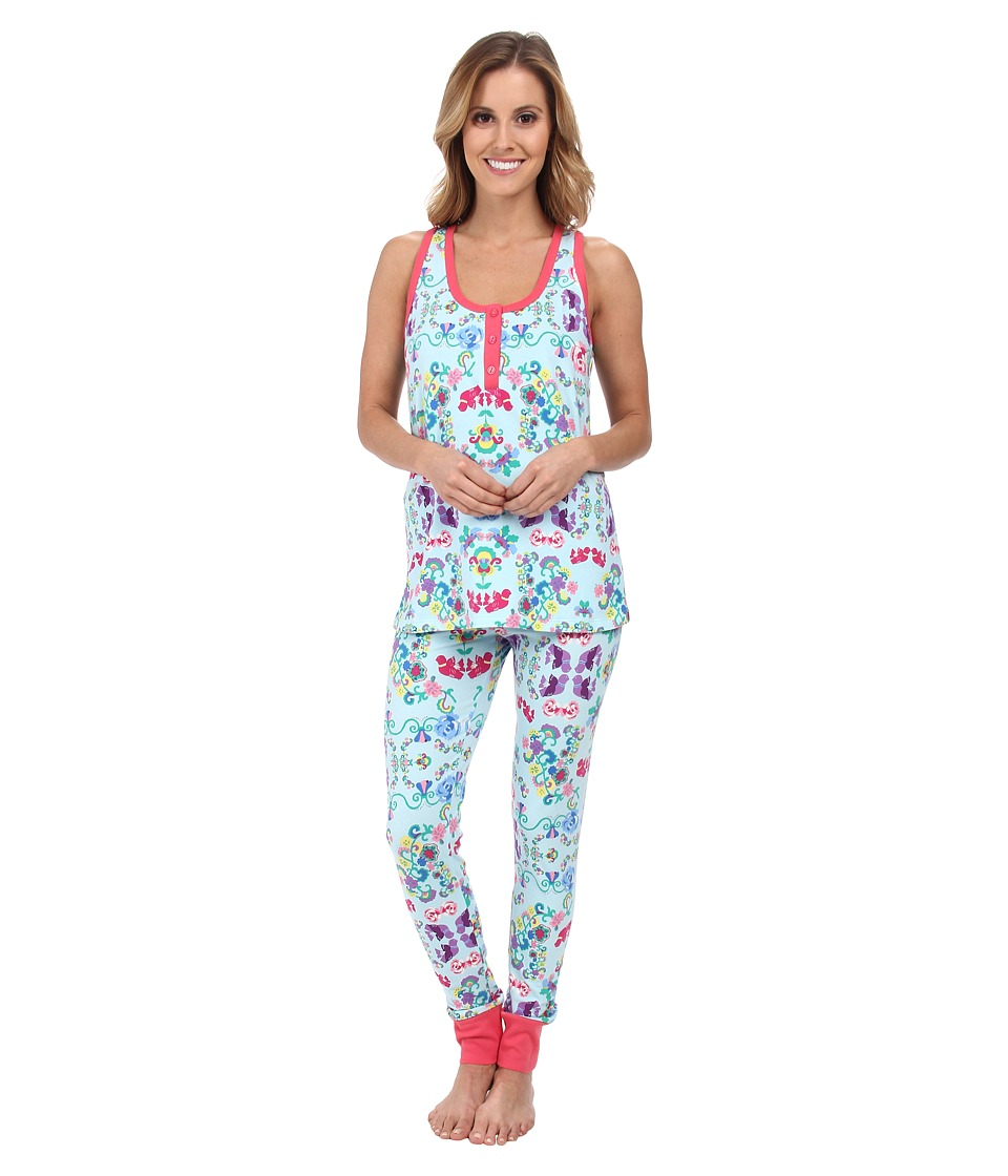 BedHead - Sleeveless Henley PJ (Floral Wonderland) Women's Pajama Sets