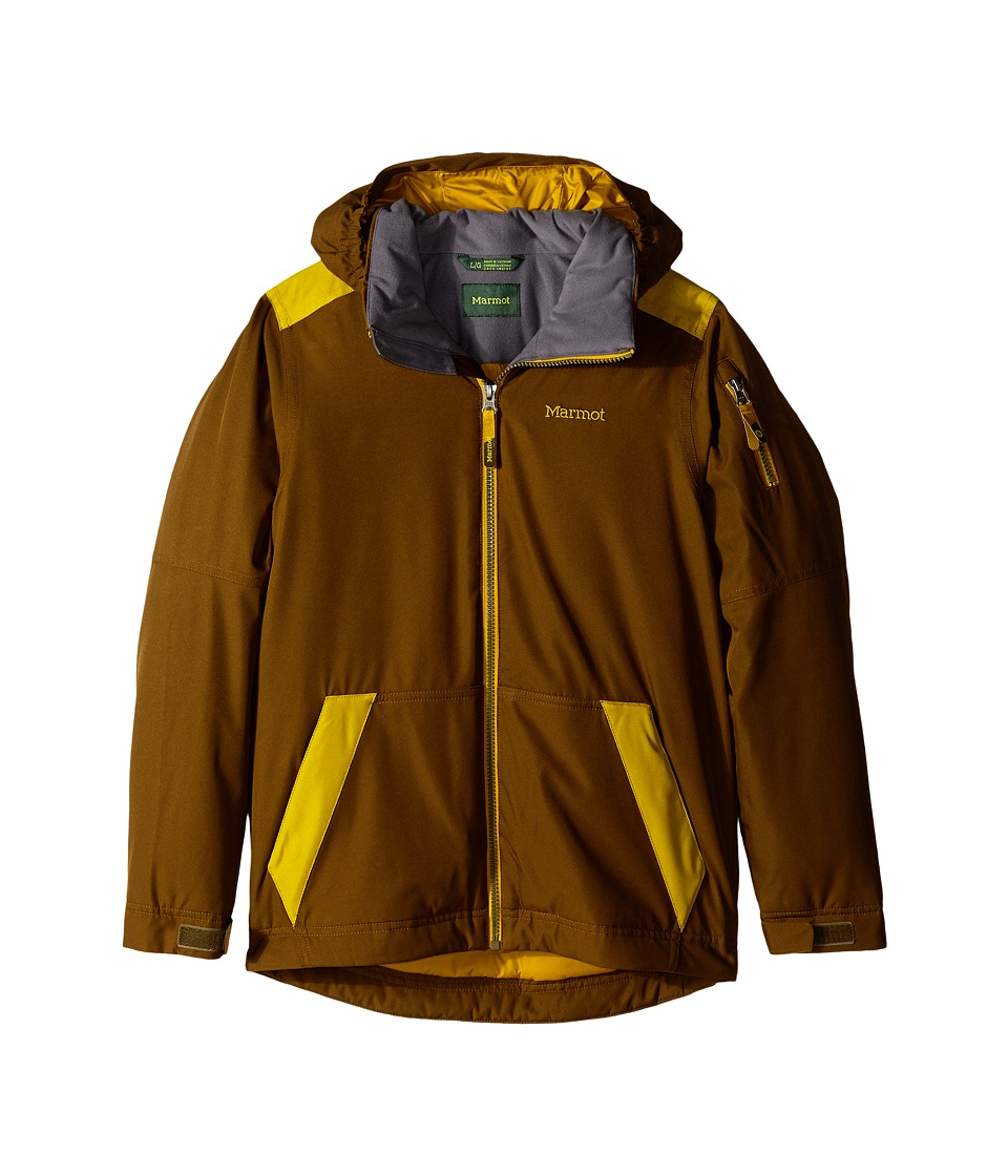 Marmot Kids - Outer Limits Jacket (Little Kids/Big Kids) (Brown Moss/Green Mustard) Boy