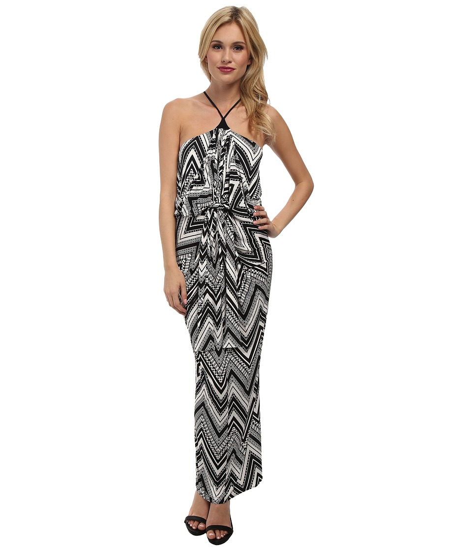 Tbags Los Angeles - Halter Front Knot Maxi Dress (Black/White) Women's Dress