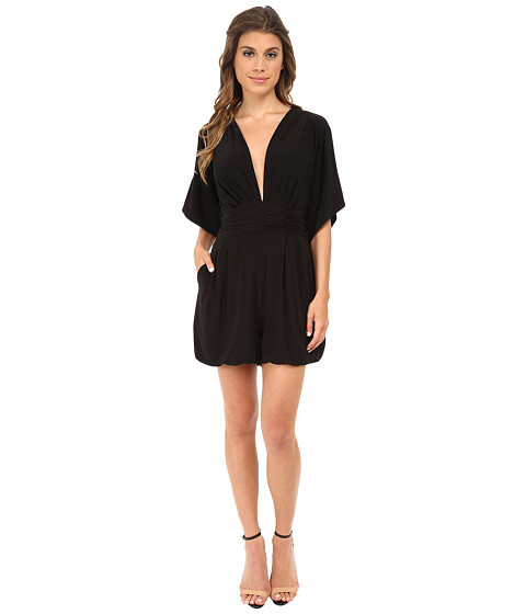 Tbags Los Angeles - V-Neck Romper (Black) Women's Jumpsuit & Rompers One Piece