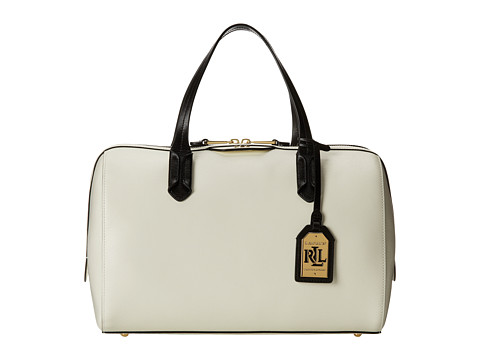 LAUREN by Ralph Lauren - Tate Graphic Large Barrel Satchel (Vanilla/Black) Satchel Handbags