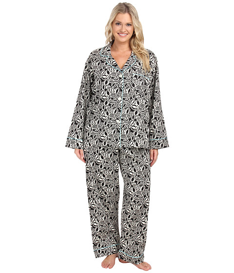 BedHead - Plus Size Notch Collar Pajama (Black/White Beach Balls) Women