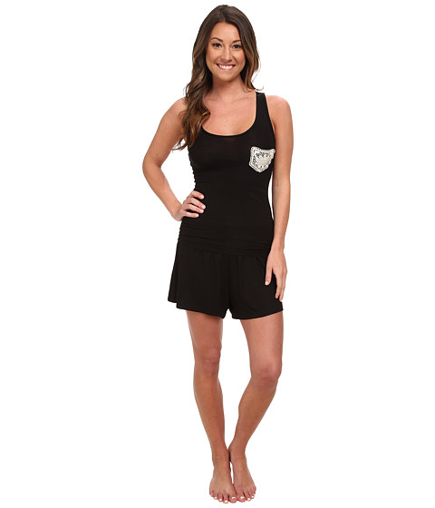 BedHead - Racer Back Shorts Set (Black Solid) Women's Pajama Sets