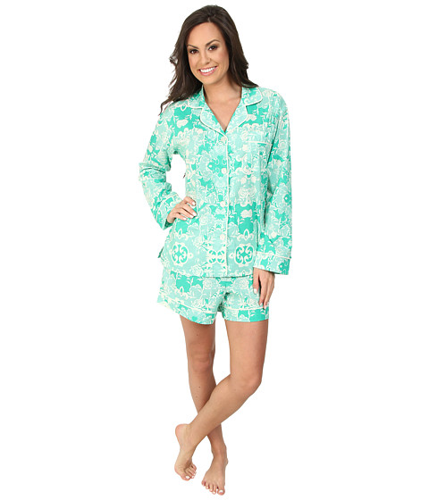 BedHead - Classic Shorty PJ (Green Floral Mesh) Women's Pajama Sets