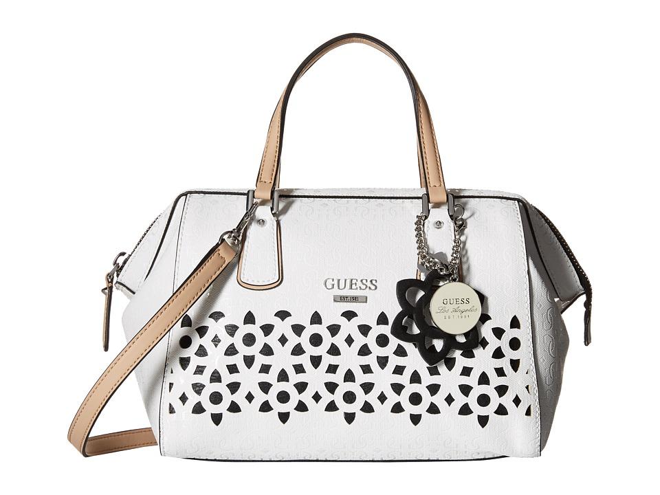 GUESS - Bianco Nero Frame Satchel (White) Satchel Handbags