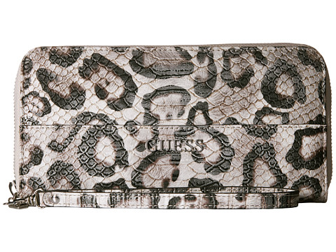 GUESS - Doheny Large Zip Around (Snow Leopard) Handbags