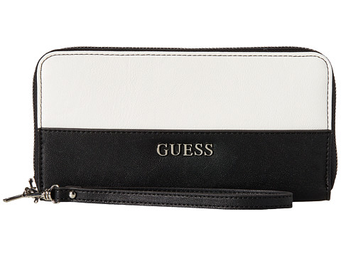 GUESS - Doheny Large Zip Around (Black Multi) Handbags