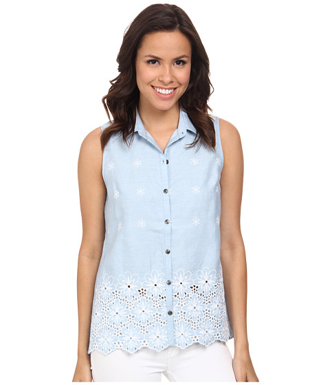 KUT from the Kloth - Donna Sleeveless Button Down Top (Chambray 2) Women