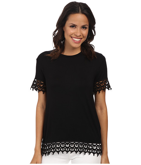 KUT from the Kloth - Short Sleeve Tee with Lace Trim (Black) Women's Short Sleeve Pullover