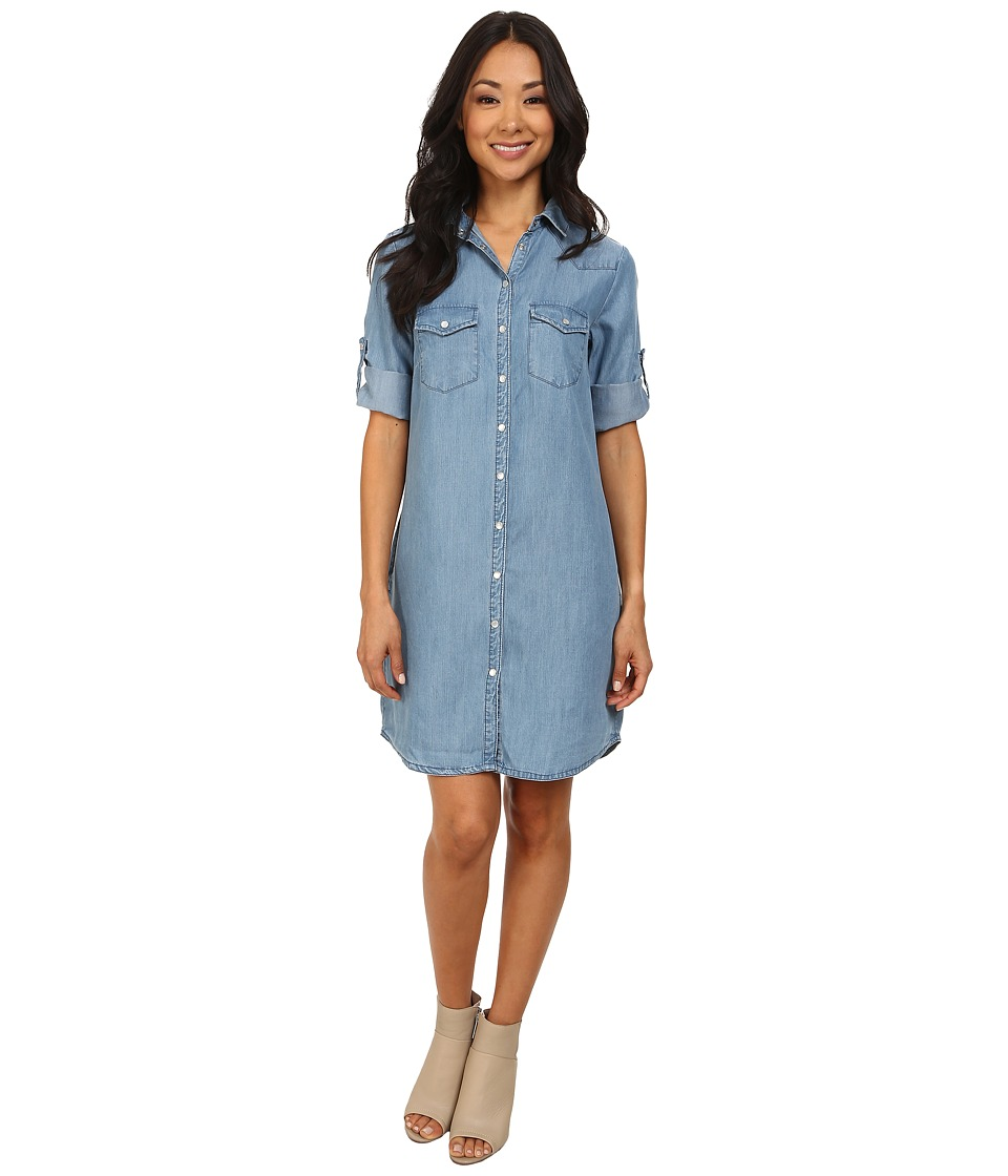 KUT from the Kloth - Ruthy Button Front Shirt Dress (Vintage Wash) Women's Long Sleeve Button Up
