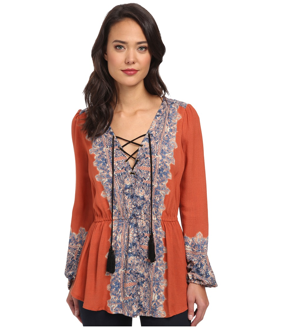 Free People - Printed Moments Tunic (Persimmon Combo) Women's Clothing