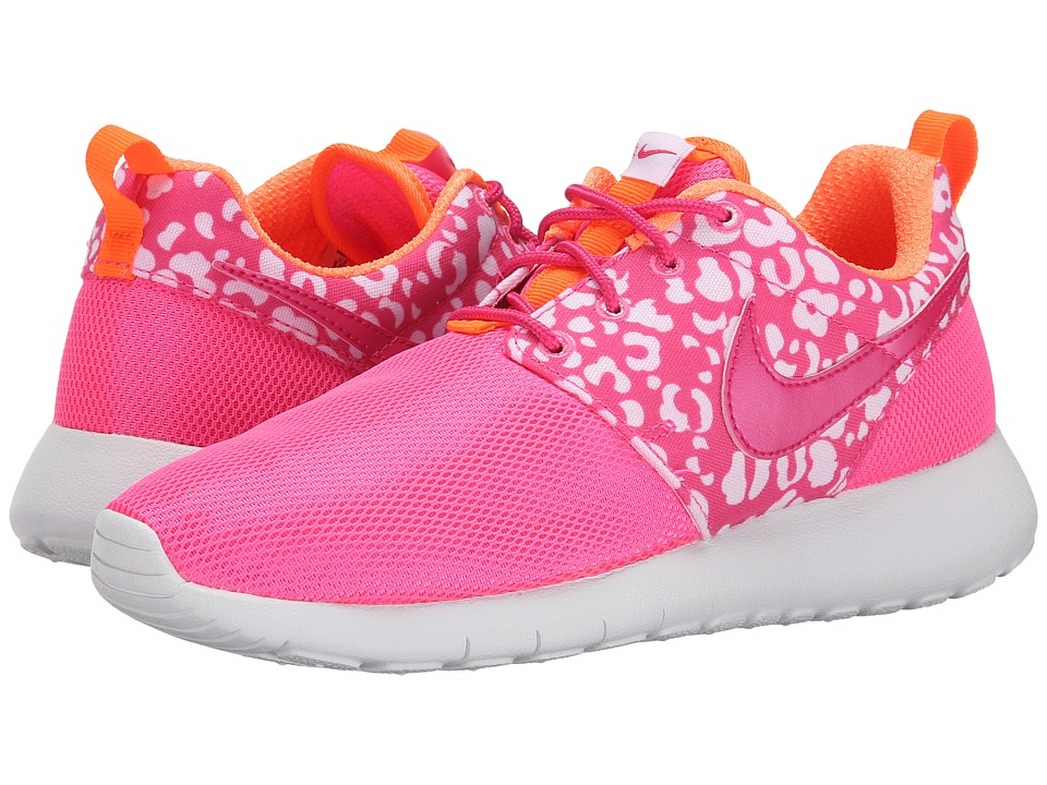 Nike Kids - Roshe Run Print (Big Kid) (Pink Pow/Total Orange/Vivid Pink/Metallic Silver) Girls Shoes