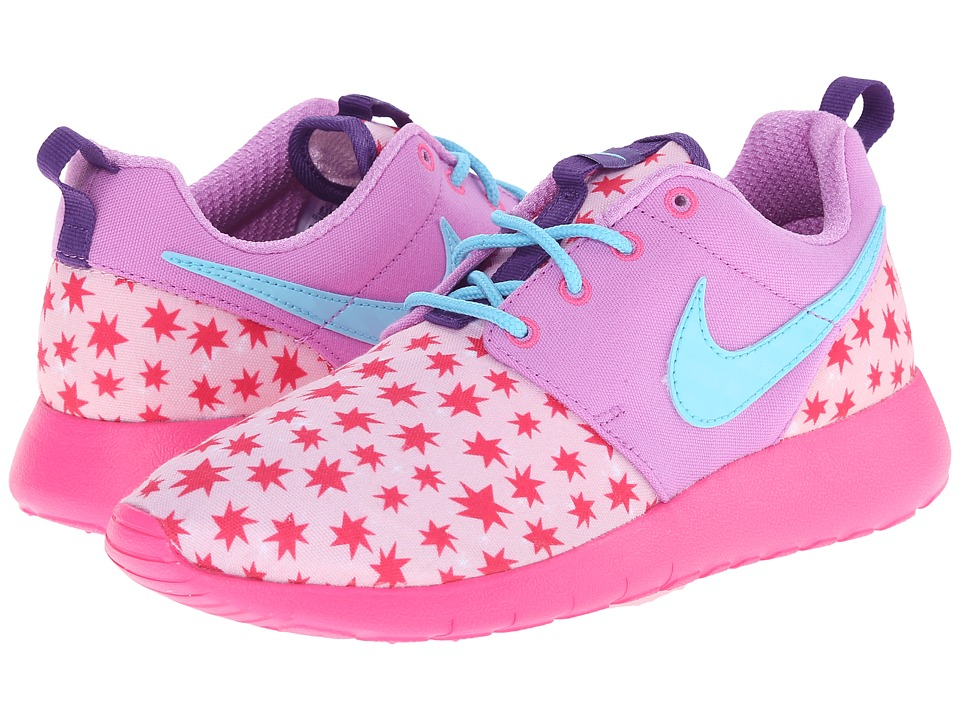 Nike Kids - Roshe Run Print (Big Kid) (Prism Pink/Fuchsia Glow/Pink Foil/Tide Pool Blue) Girls Shoes