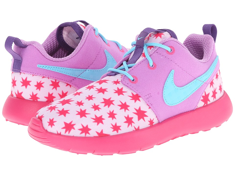 Nike Kids - Roshe Run Print (Little Kid) (Prism Pink/Fuchsia Glow/Pink Foil/Tide Pool Blue) Girls Shoes