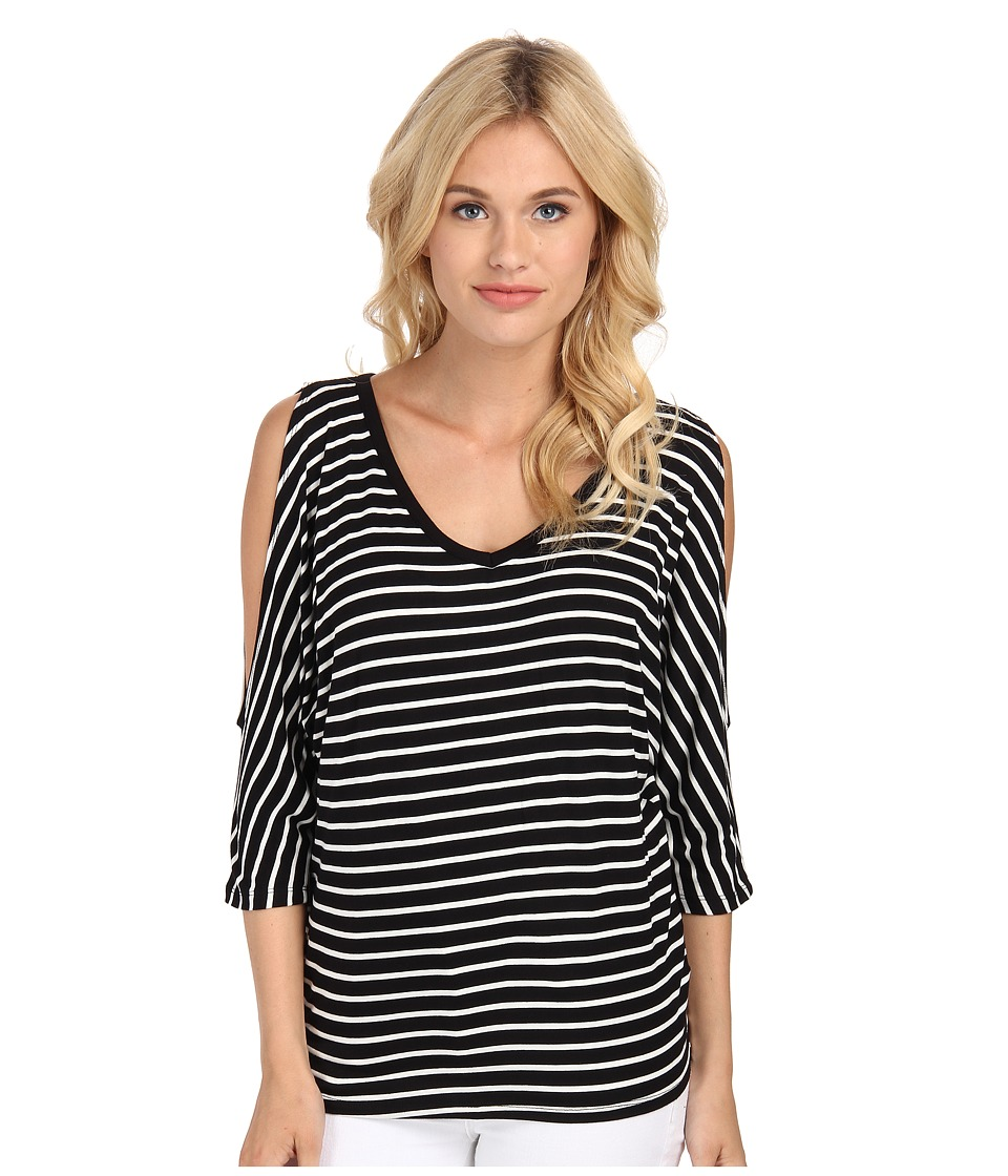 KUT from the Kloth - V-Neck Cold Shoulder Top (White/Black) Women