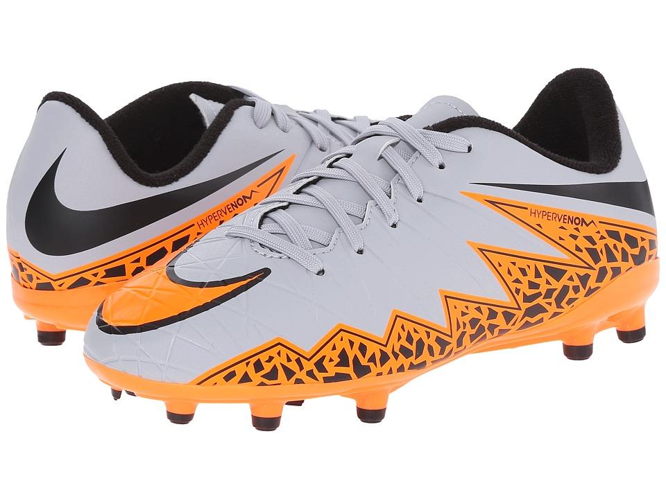 Nike Kids - Jr Hypervenom Phelon II FG Soccer (Toddler/Little Kid/Big Kid) (Wolf Grey/Black/Total Orange) Kids Shoes