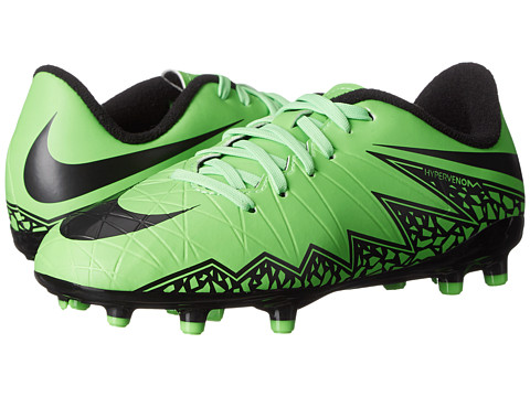 Nike Kids - Jr Hypervenom Phelon II FG Soccer (Toddler/Little Kid/Big Kid) (Green Strike/Black) Kids Shoes