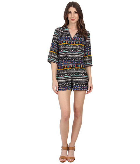 KUT from the Kloth - Julie Surplus Romper with 3/4 Sleeve (Royal Tribal) Women's Jumpsuit & Rompers One Piece