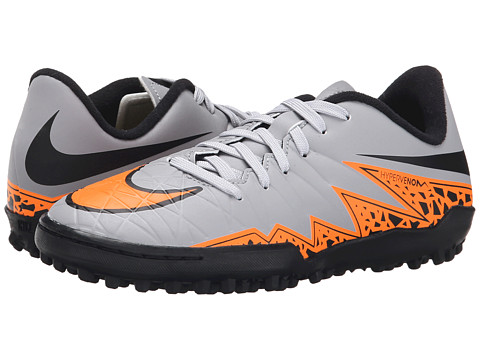 Nike Kids - Jr Hypervenom Phelon II TF Soccer (Toddler/Little Kid/Big Kid) (Wolf Grey/Black/Total Orange) Kids Shoes