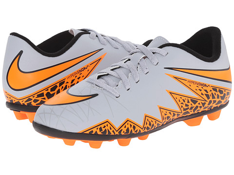 Nike Kids - Jr Hypervenom Phade II FG Soccer (Little Kid/Big Kid) (Wolf Grey/Black/Total Orange) Kids Shoes