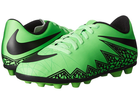 Nike Kids - Jr Hypervenom Phade II FG Soccer (Little Kid/Big Kid) (Green Strike/Black) Kids Shoes